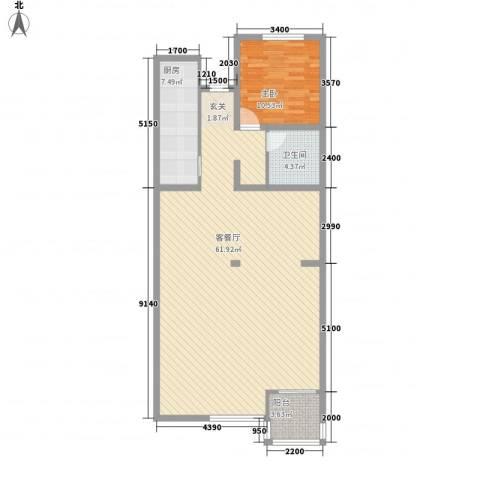 传输局宿舍1室1厅1卫1厨122.00㎡户型图