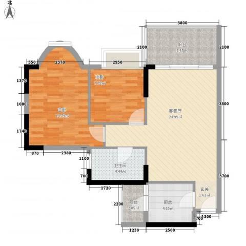 光耀城市广场2室1厅1卫1厨65.62㎡户型图