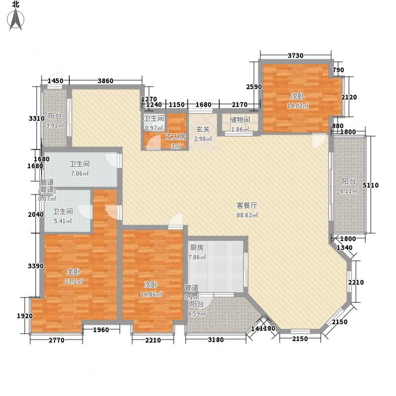爱建滨江紫园262.40㎡M户型4室2厅3卫1厨