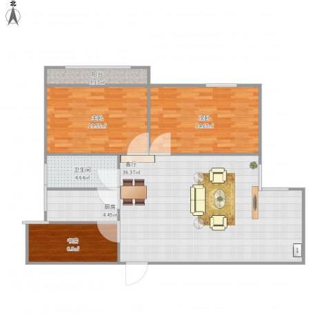 临湖社区3室1厅1卫1厨112.00㎡户型图