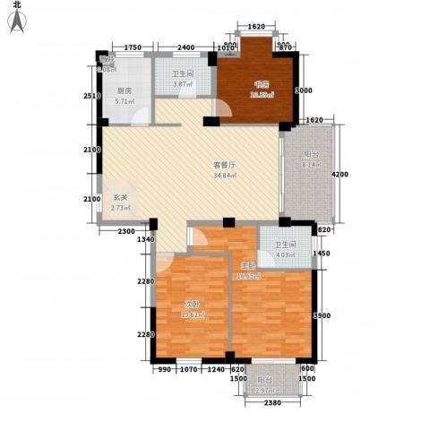 富山花园紫荆苑3室1厅2卫1厨141.00㎡户型图