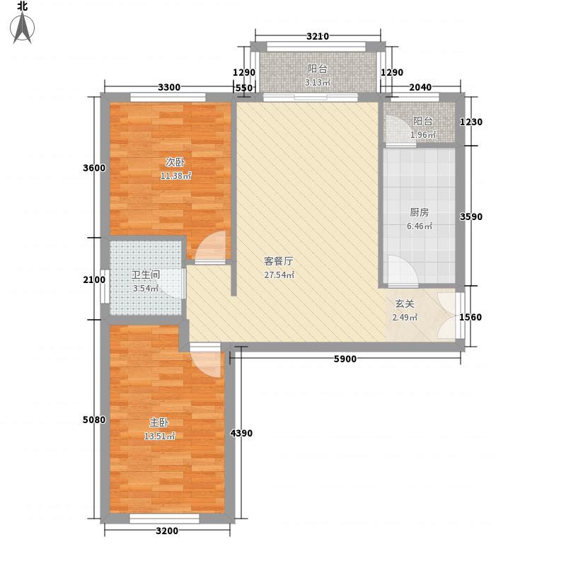 银丰花园11.00㎡2号楼B1户型2室2厅1卫