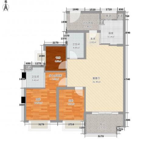 联发滨海名居3室1厅2卫1厨118.00㎡户型图