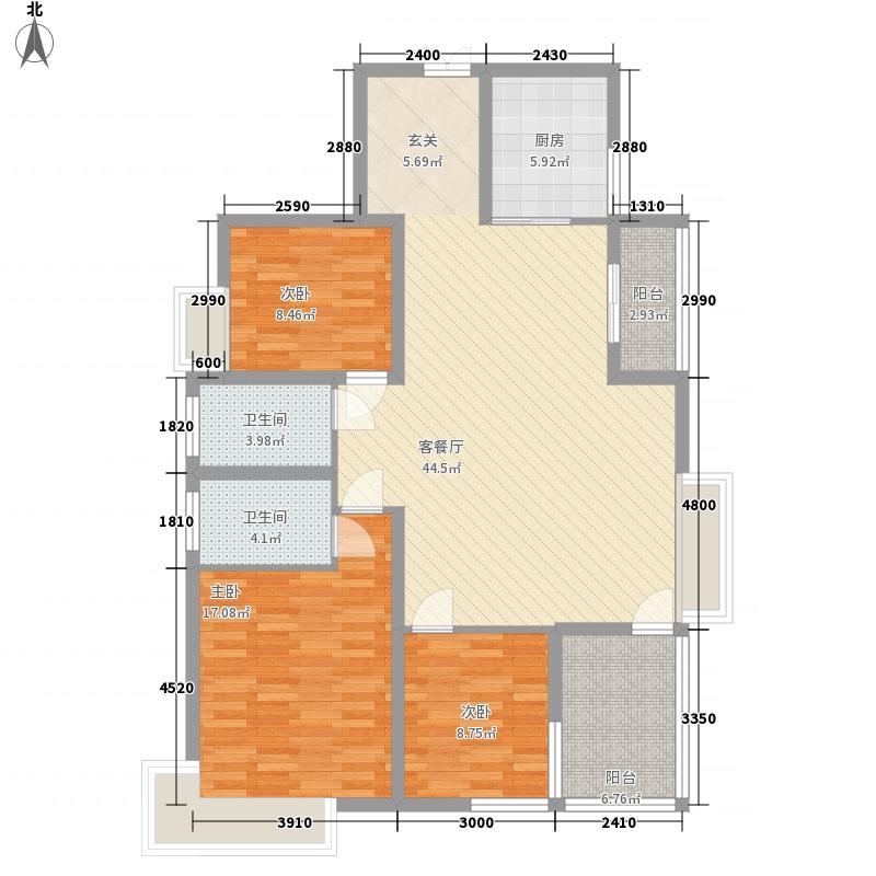 水木清华145.80㎡6#C户型3室2厅2卫