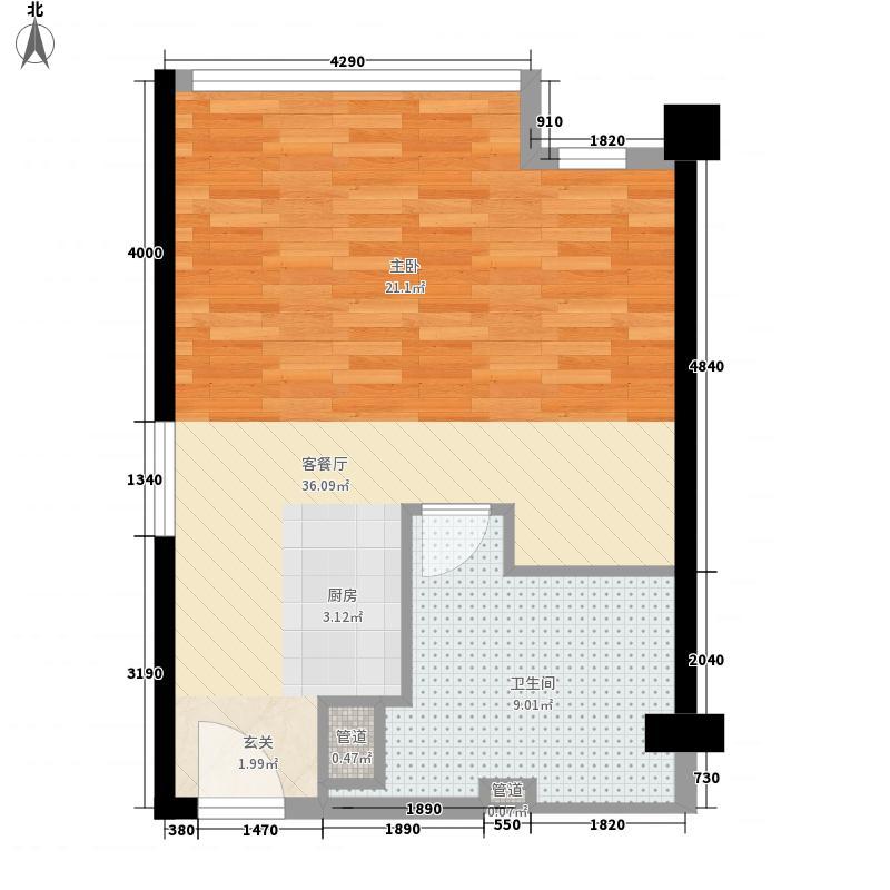万达广场48克拉63.00㎡户型1室1厅1卫1厨