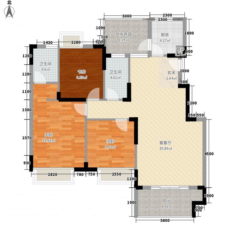 富山花园紫荆苑18326676384c9611d05d5d1户型3室2厅2卫1厨