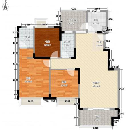 富山花园紫荆苑3室1厅2卫1厨136.00㎡户型图