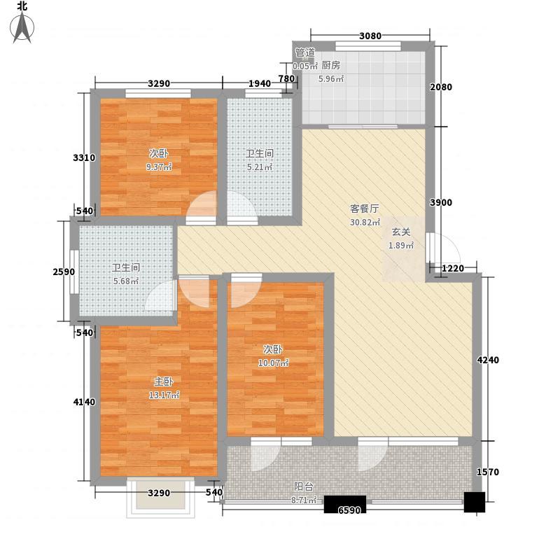 瑞源香汐海128.11㎡1#-14#楼标准层之I户型3室2厅2卫1厨