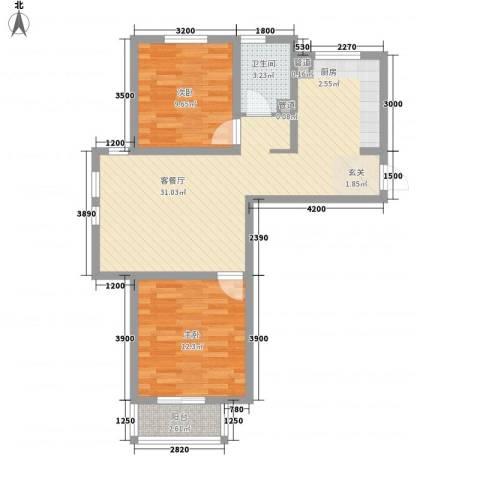 汐岸尚景2室1厅1卫0厨86.00㎡户型图