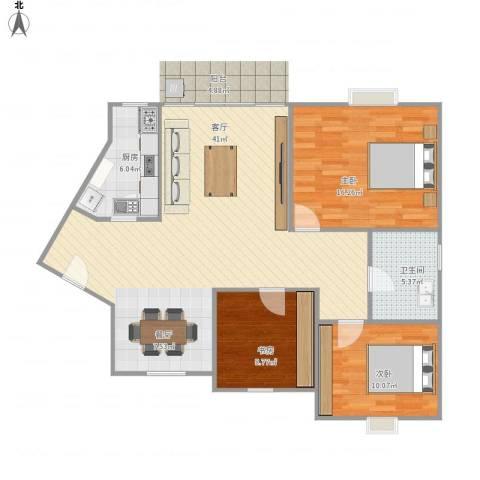 金碧华庭3室1厅1卫1厨93.43㎡户型图