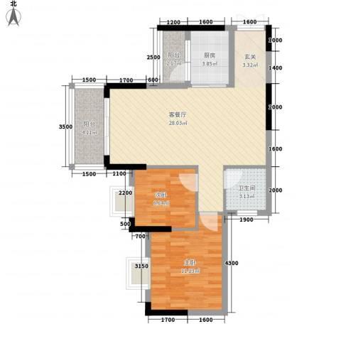 盛世华府2室1厅1卫1厨77.00㎡户型图