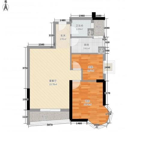 润田雅苑2室1厅1卫1厨74.00㎡户型图