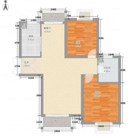 汐岸尚景2室1厅1卫1厨101.00㎡户型图