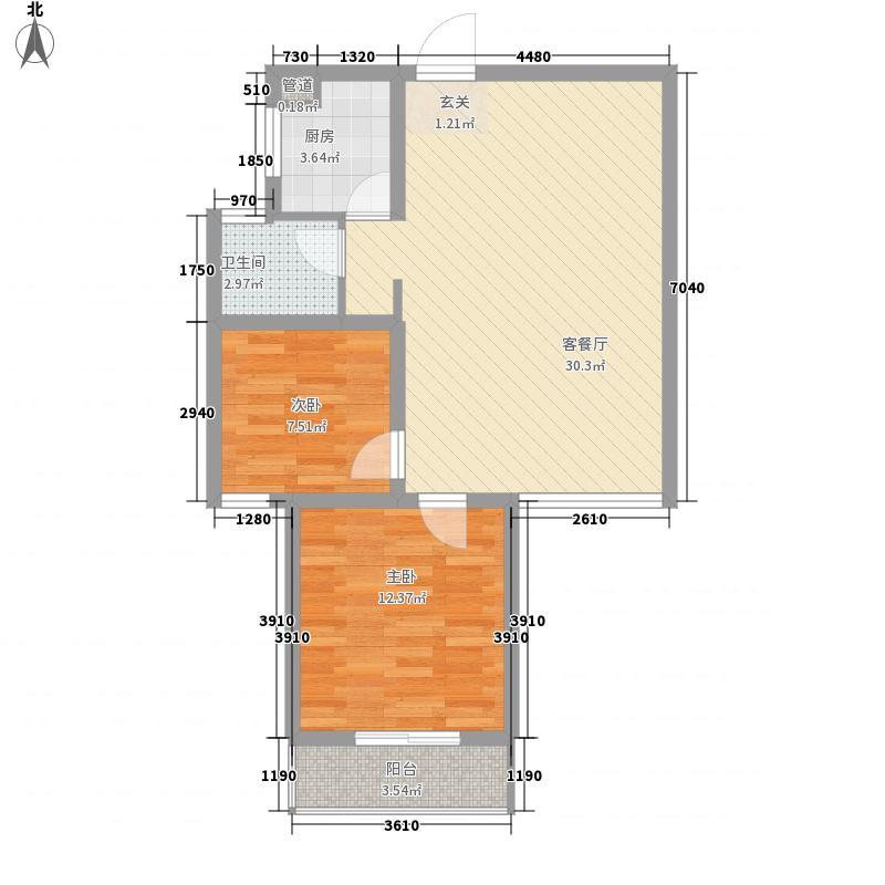 汉飞金沙国际86.20㎡15、19号楼东3户户型2室2厅1卫