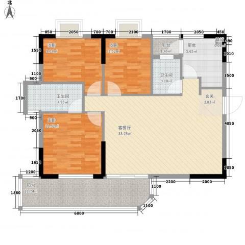 御景华城3室1厅2卫1厨113.00㎡户型图
