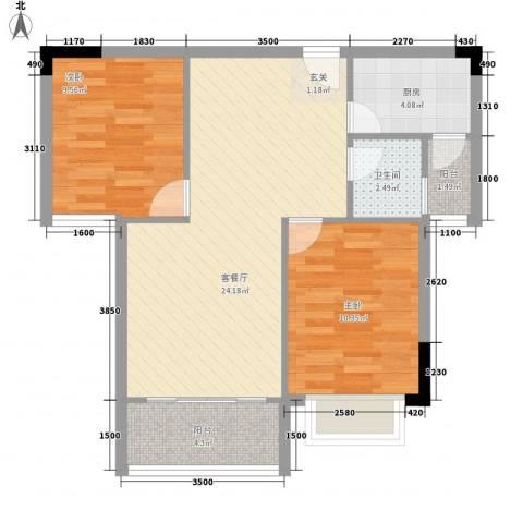 曦华佳苑2室1厅1卫1厨56.45㎡户型图