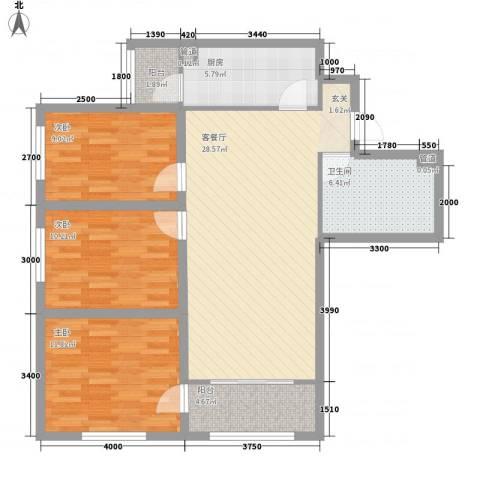 欧美风情小镇3室1厅1卫1厨112.00㎡户型图