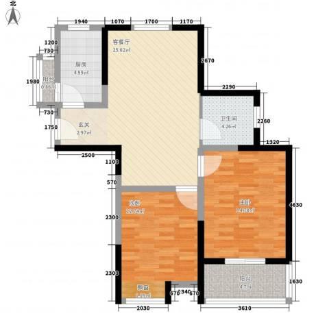 神州河畔景苑2室1厅1卫1厨98.00㎡户型图