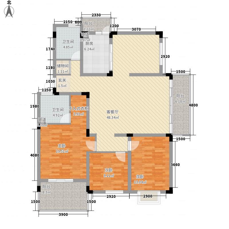 名门世家三期高层A7户型3室2厅2卫1厨