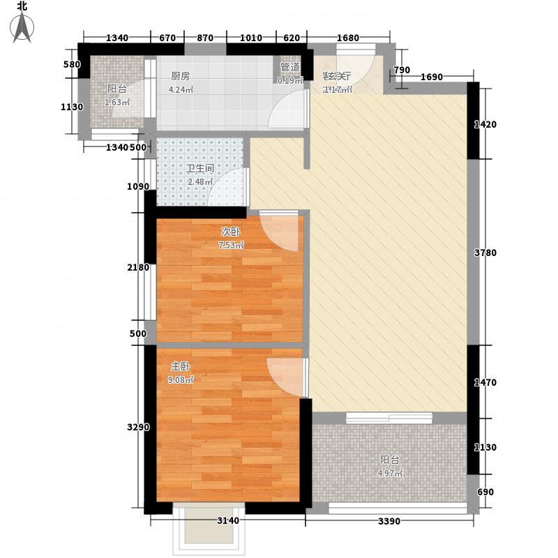 哈楼77.00㎡1号楼A-2户型2室2厅1卫1厨