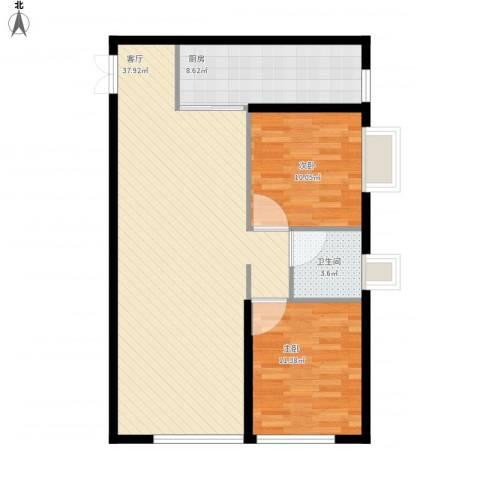 万象上东2室1厅1卫1厨104.00㎡户型图