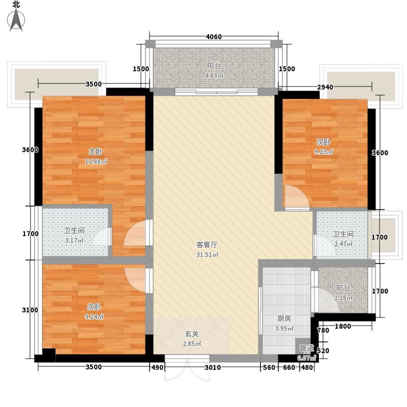 东江华府11.31㎡C3(2015-7-29)户型3室2厅2卫1厨