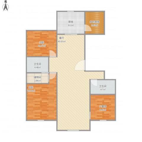 首开保利熙悦诚郡3室1厅2卫1厨139.00㎡户型图
