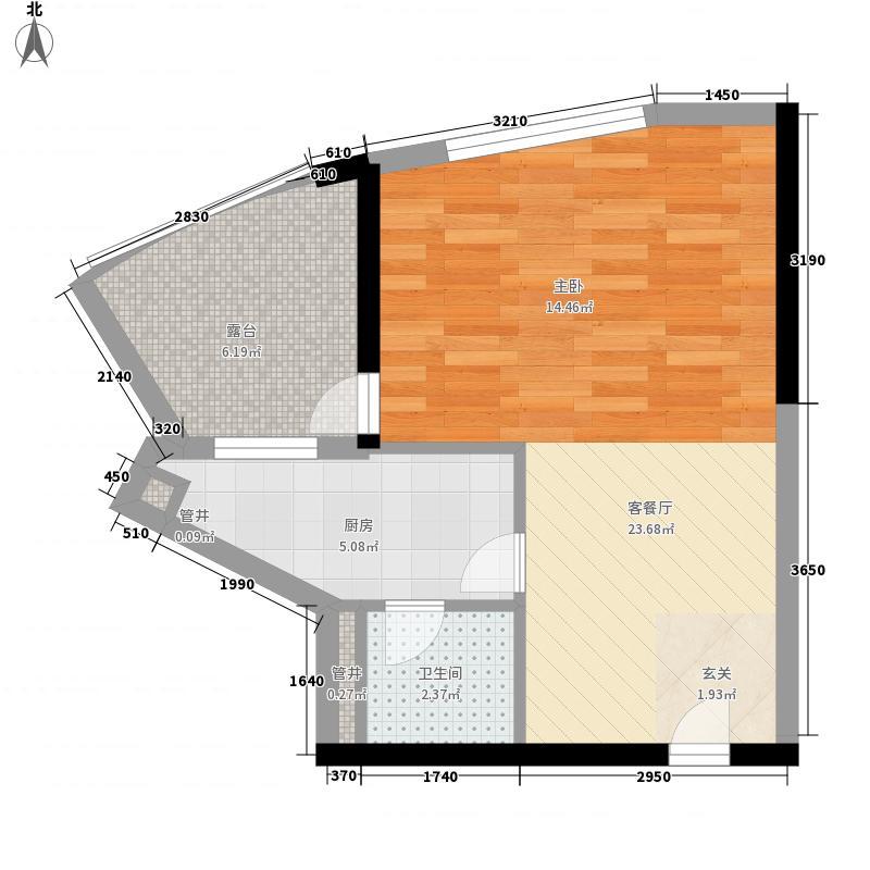 润田雅苑54.16㎡A2栋04单位户型1室1厅1卫1厨