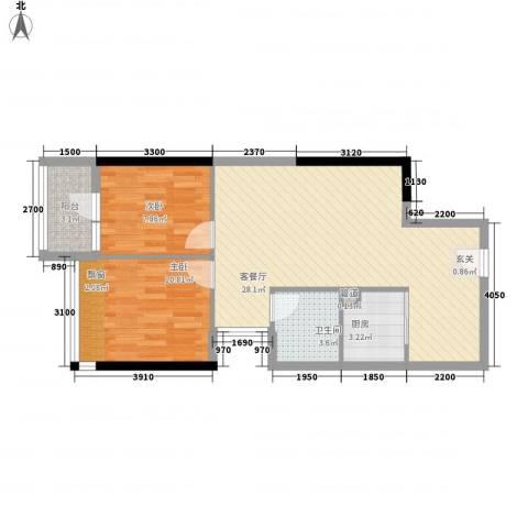 金象领域2室1厅1卫1厨56.82㎡户型图