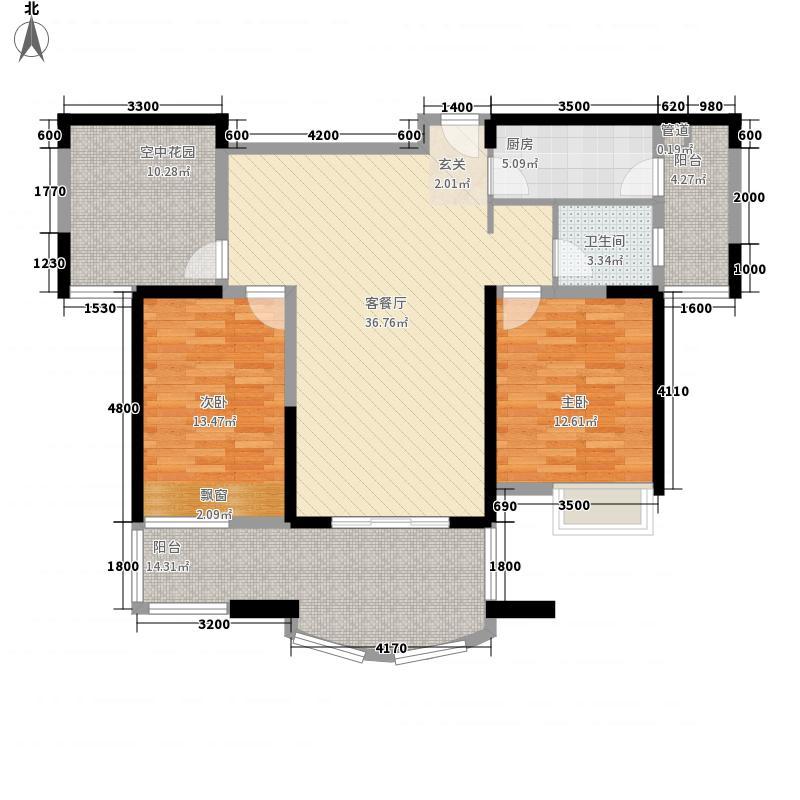 华地公馆114.81㎡C层户型2室2厅2卫1厨