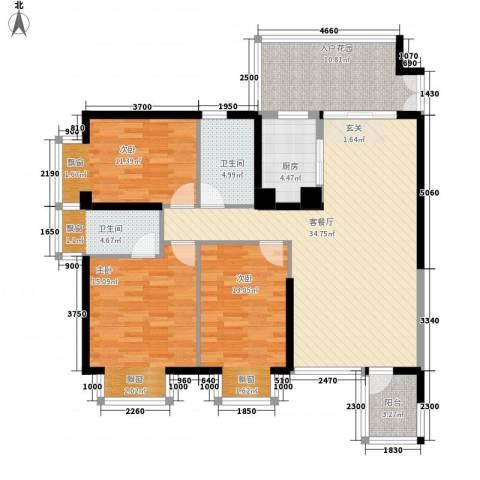金象领域3室1厅2卫1厨102.50㎡户型图