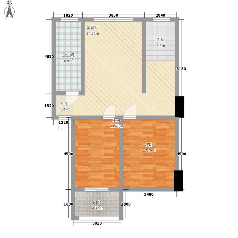 凤凰新城半山园11.00㎡C户型2室2厅1卫1厨
