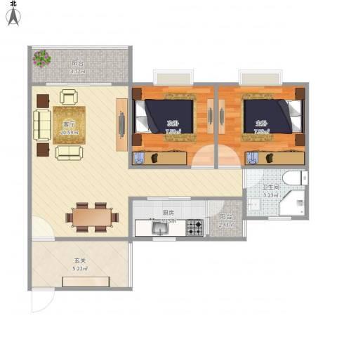 华宇阳光四季B32室1厅1卫1厨73.00㎡户型图