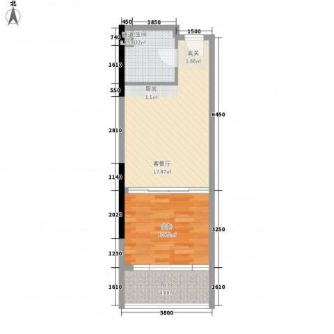 金象领域1室1厅1卫0厨47.00㎡户型图