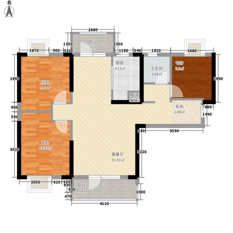 新世纪汉江湾18.00㎡3、5#C户型3室2厅1卫1厨