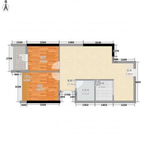 金象领域2室1厅1卫1厨74.00㎡户型图