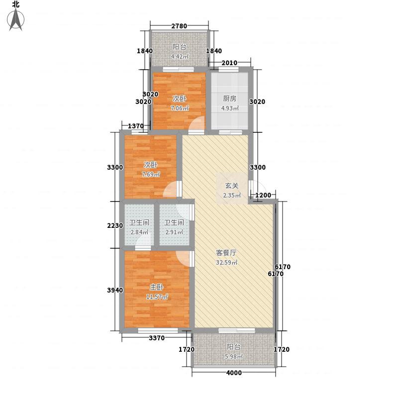 锦屏花园115.36㎡O户型3室2厅2卫1厨