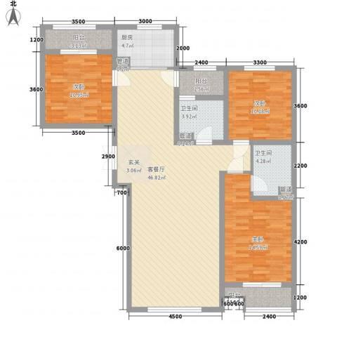 同亨大厦3室1厅2卫1厨150.00㎡户型图