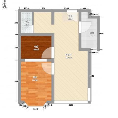 舜清苑2室1厅1卫1厨63.00㎡户型图
