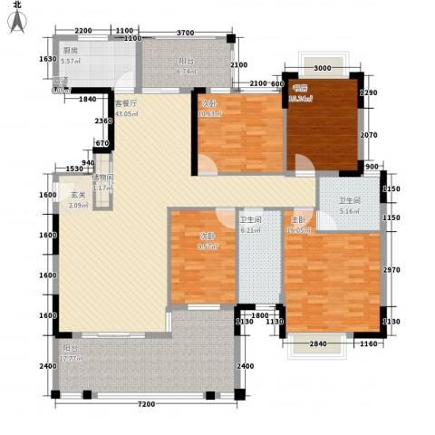 东江学府二期4室1厅2卫1厨163.00㎡户型图