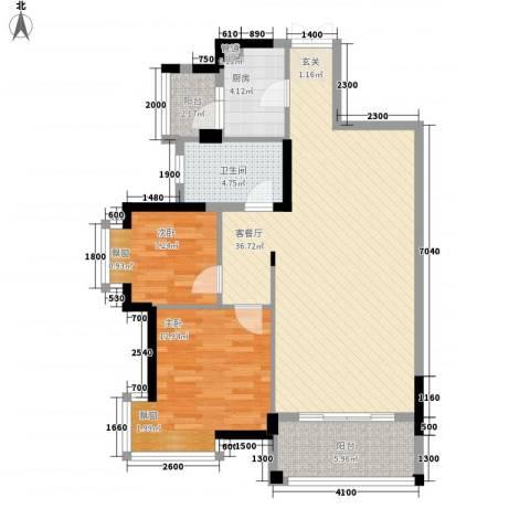 龙光海悦城邦2室1厅1卫1厨88.00㎡户型图