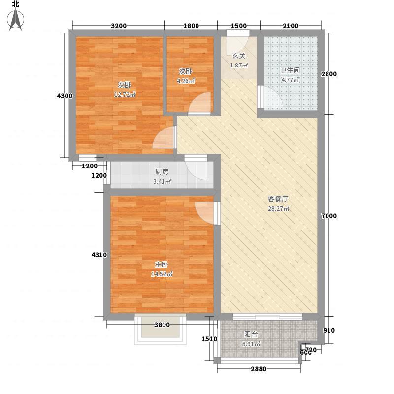 北湖家园7.00㎡B户型3室2厅1卫1厨