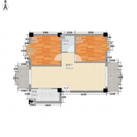 温馨佳苑2室1厅1卫1厨85.00㎡户型图