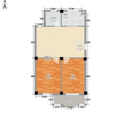 东兴苑二期2室1厅1卫1厨96.00㎡户型图