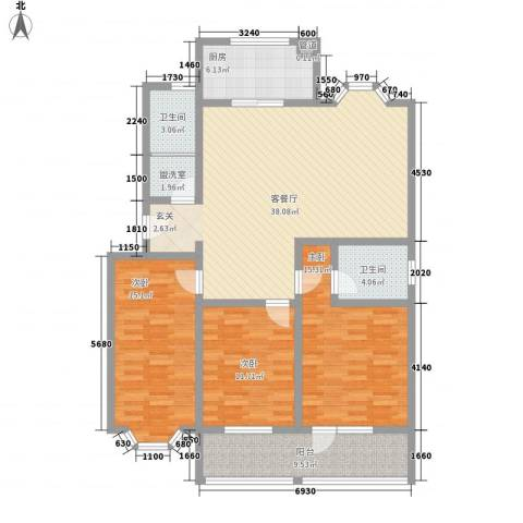 时代新城3室2厅2卫1厨151.00㎡户型图