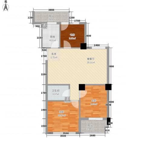 龙泉都市华庭3室1厅1卫1厨94.00㎡户型图