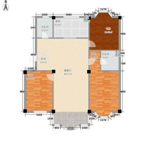 东兴苑二期3室1厅2卫1厨155.00㎡户型图