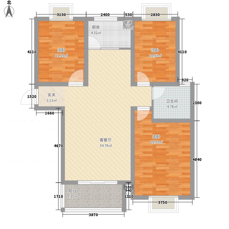 梨园125.00㎡小区322125户型3室2厅2卫