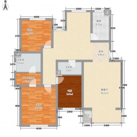 首府国际公馆3室1厅2卫1厨146.00㎡户型图