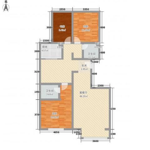 首府国际公馆3室1厅2卫1厨115.00㎡户型图